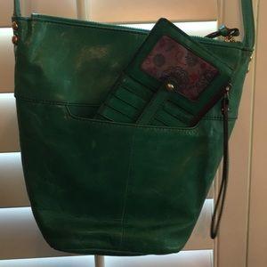 Hobo Green Bag and matching credit card holder